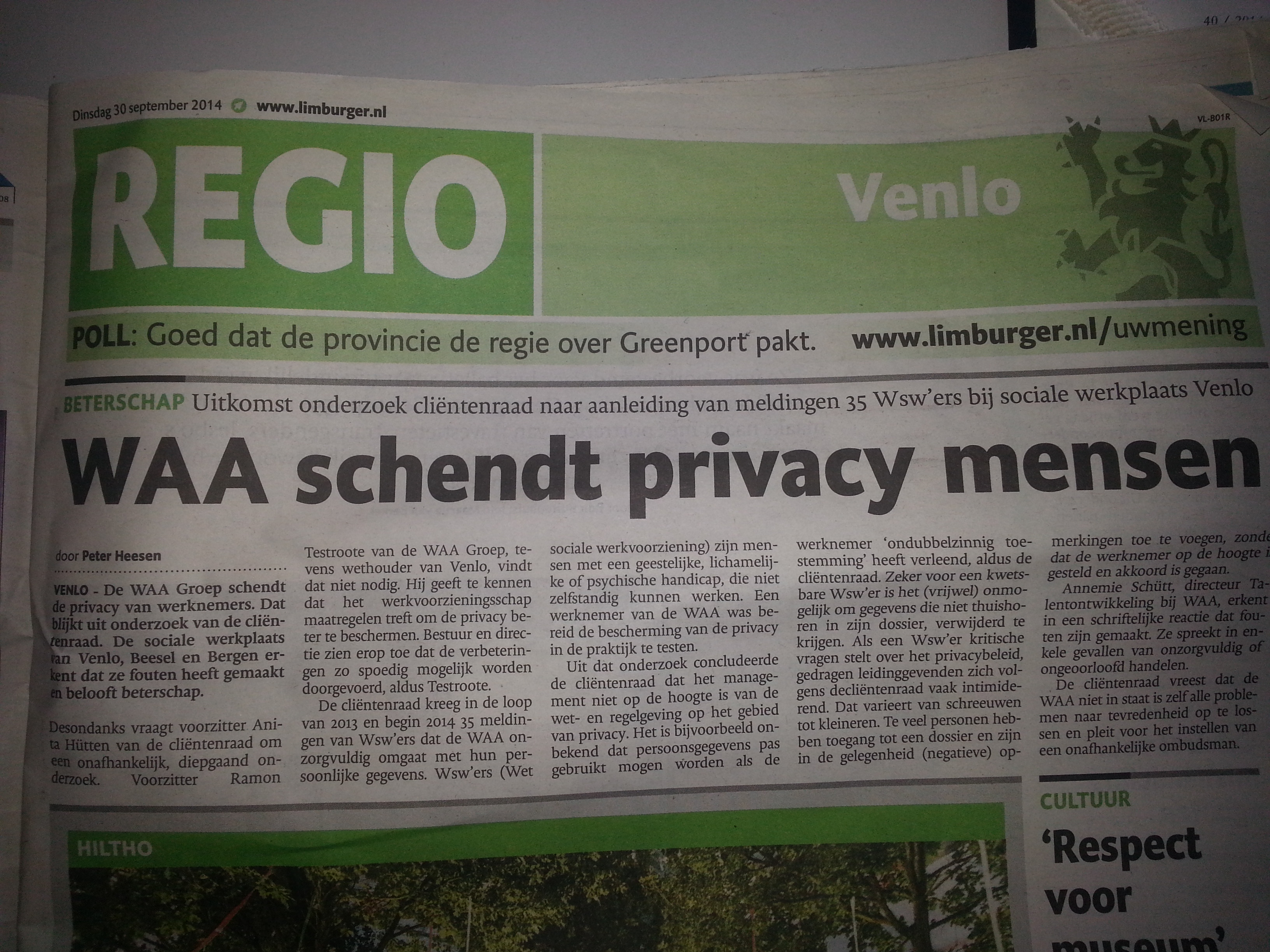 Krantenartikel De Limburger Privacy