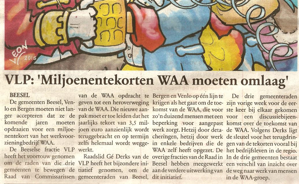 Krantenartikel Gazetje 11 februari 2015